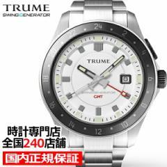 TRUME トゥルーム Lコレクション ブレークライン TR-ME2011 メンズ 腕時計 自動巻発電 GMT セラミックベゼル メタルバンド ホワイト