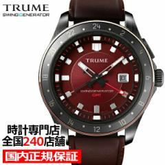 TRUME トゥルーム Lコレクション ブレークライン TR-ME2014 メンズ 腕時計 スイングジェネレータ 自動巻発電 GMT セラミック レザー レッ