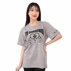 Im Doraemon ネップ 杢ボーダー 半袖 Tシャツ ドラえもん フチなしの顔 大人用 男女兼用 送料無料