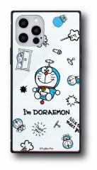 iPhpne12/12Pro対応スマホケース ドラえもん Im Doraemon スクエアガラスケース 総柄 送料無料