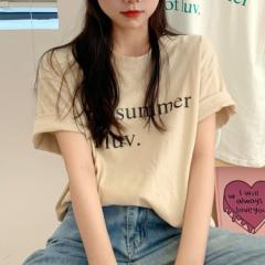 レディース トップス 大きめロゴがカジュアルな印象のTシャツ 夏 秋 送料無料