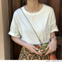 レディース トップス 半袖Tシャツ ゆったり かわいい 無地 春 夏 秋 送料無料