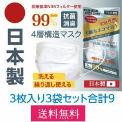 日本製 不織布エコマスク 3枚入り3セット計9枚 洗って繰り返し使える 国産 4層構造 男女兼用 大人用 普通サイズ PM2.5 99%カット クリー