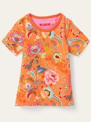 セール オイリリー 公式 キッズ 女の子 半袖Tシャツ 128 140 152 オレンジ フラワープリント 花柄 YS20GJE010