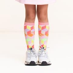 40%OFFセール オイリリー 公式 キッズ 女の子 ハイソックス 靴下 ブロック柄 OILILY ロゴ 運動会 目立つ13-24cm