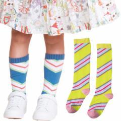 40%OFFセール オイリリー 公式 キッズ 女の子 ハイソックス 靴下 斜めストライプ ボーダー 青 黄色 運動会 目立つ 13-24cm