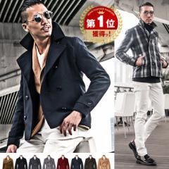 ピーコート Pコート メンズ コート ジャケット ウール ウールコート 黒 ブラック 秋 冬 秋冬 trend_d