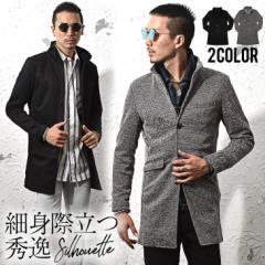 コート メンズ ジャケット テーラードジャケット スーツ イタリアンカラー コート 細身 タイト 無地 襟 グレー ブラック trend_d