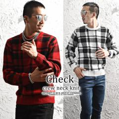 ニット メンズ セーター 総柄 チェック チェック柄 長袖 クルーネック レッド ホワイト 赤 trend_d