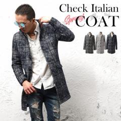 コート メンズ ジャケット テーラードジャケット スーツ イタリアンカラー コート 立て襟 チェック 総柄 細身 タイト trend_d