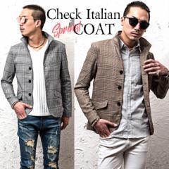 ジャケット メンズ スーツ テーラードジャケット イタリアンジャケット チェック柄 総柄 グレンチェック グレー trend_d