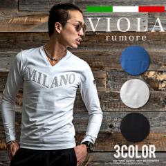 VIOLA rumore ヴィオラ 長袖 tシャツ メンズ ロンT 長袖Tシャツ カットソー Vネック タイト ロゴ エンボス ベロア trend_d