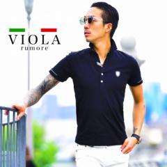 VIOLA rumore ヴィオラ ポロシャツ メンズ 半袖 半袖ポロシャツ ポロ トップス ゴルフ ゴルフウェア ブランド きれいめ ブラック 黒 黄色