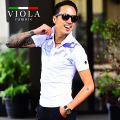 VIOLA rumore ヴィオラ ポロシャツ メンズ 半袖 半袖ポロシャツ ポロ トップス ハイビスカス ゴルフ ブランド きれいめ ブラック 黒 白