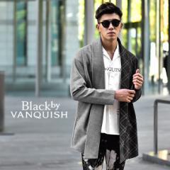BLACK by VANQUISH ブラックバイバンキッシュ カーディガン メンズ 長袖カーディガン ロングカーディガン ロング丈 ブランド ノーカラー