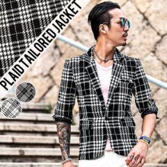 テーラードジャケット メンズ ジャケット スーツ チェック 千鳥柄 モノトーン ブラック 黒  trend_d