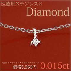 天然ダイヤモンド プチクラウンダイヤモンドネックレス サージカルステンレス 一粒ダイヤ 金属アレルギー プレゼント
