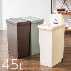 スライドペール 45L ふた付き 幅27cm 45リットル ごみ箱 ダストボックス キッチン スリム コンパクト プラスチック 角型 縦型(代引不可)