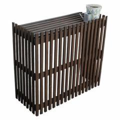 エアコン室外機カバー 日よけカバー 木製 天然木製 エアコンカバー エクステリア DIY モダン エアコンカバー(代引不可)【送料無料】