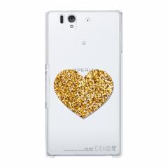 スマホケース お洒落なポイント印刷【PI809 黄金のハート】SO-02E/P-02E/Galaxy S4/SO-03D/SH-04E/L-04E等