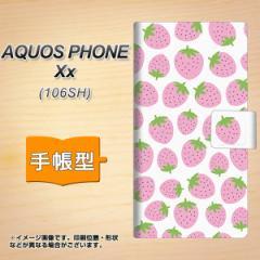 メール便送料無料AQUOS PHONE Xx 106SH 手帳型スマホケース/レザー/ケース / カバー【SC809 小さいイチゴ模様 ピンク】(アクオスフォンXx