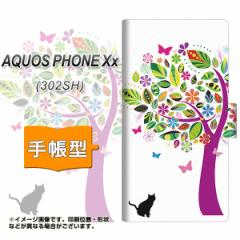メール便送料無料SoftBank AQUOS PHONE Xx 302SH 手帳型スマホケース/レザー/ケース / カバー【EK907 花とネコ】(アクオスフォンXx/302sh