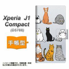 メール便送料無料 Xperia J1 Compact 手帳型スマホケース 【 YC833 ねこ04 】横開き (エクスペリア J1 Compact/D5788用/スマホケース/手