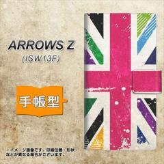 メール便送料無料au ARROWS Z ISW13F 手帳型スマホケース/レザー/ケース / カバー【SC806 ユニオンジャック ピンクビンテージ 】(アロー
