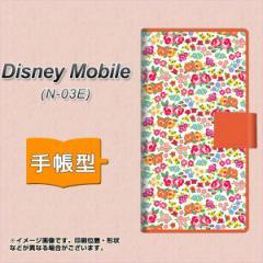 メール便送料無料docomo Disney Mobile N-03E 手帳型スマホケース/レザー/ケース / カバー【777 マイクロリバティプリントWH】(ディズニ