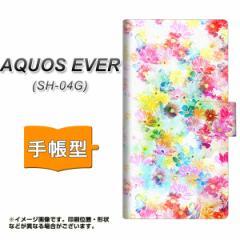 メール便送料無料 docomo AQUOS EVER SH-04G 手帳型スマホケース 【 SC876 リバティプリント プレスドフラワー(ホワイト) 】横開き (ア