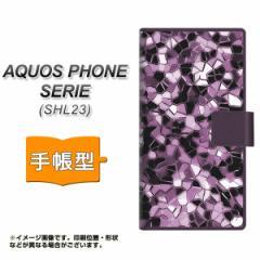 メール便送料無料 au AQUOS PHONE SERIE SHL23 手帳型スマホケース/レザー/ケース / カバー【EK837 テクニカルミラーパープル】(アクオス