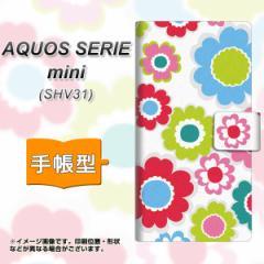 メール便送料無料 au AQUOS SERIE mini SHV31 手帳型スマホケース 【 SC827 ピクニックフラワー 】横開き (アクオス セリエ ミニ SHV31/S