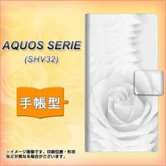 メール便送料無料 au AQUOS SERIE SHV32 手帳型スマホケース 【 402 ホワイトRose 】横開き (アクオスセリエ shv32/SHV32用/スマホ