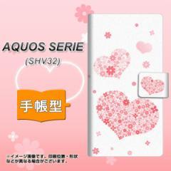 メール便送料無料 au AQUOS SERIE SHV32 手帳型スマホケース 【 SC824 ピンクのハート 】横開き (アクオスセリエ shv32/SHV32用/スマホ