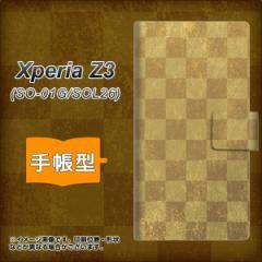 メール便送料無料 Xperia Z3 SO-01G / SOL26 共用 (docomo/au) 手帳型スマホケース/レザー/ケース / カバー【619 市松模様-金】(エクスペ