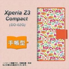 メール便送料無料 docomo XPERIA Z3 Compact SO-02G 手帳型スマホケース/レザー/ケース / カバー【777 マイクロリバティプリントWH】(エ