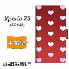 メール便送料無料 au Xperia Z5 SOV32 手帳型スマホケース 【 YB968 ハートレッド 】横開き (エクスペリアZ5 SOV32/SOV32用/スマホケース