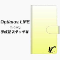 メール便送料無料 docomo Optimus LIFE L-02E 手帳型スマホケース【ステッチタイプ】【YI844 イニシャル ネコ C】(オプティマスLIFE/L02E