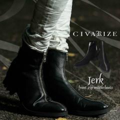 【クーポン対象外】[送料無料]CIVARIZE【シヴァーライズ】Jerk 牛革 フロントジップ ショートブーツ /全2色 メンズ VHS
