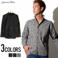 Garson Wave 日本製 グレンチェック プリント クリンクル レギュラー カラー デザイン 長袖シャツ /全3色 メンズ