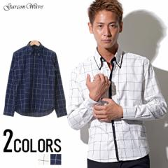 Garson Wave ウィンドペン ドビーチェック ダブル カラー デザイン ボタンダウン 長袖シャツ /全2色 メンズ
