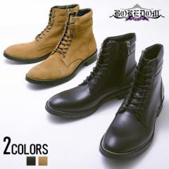 靴 メンズ シューズ BOREDOM ボアダム レースアップ サイドジップ ブーツ 全2色 即日発送 ショートブーツ 秋 冬 ベージュ ブラック