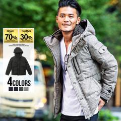 ダウンジャケット メンズ フードCavariA キャバリア フード付き 全4色 即日発送 フェザー 軽い 軽量 防寒 ブルゾン ブラック ネイビー