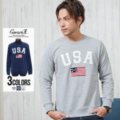 CavariA キャバリア USA サガラ 刺繍 クルーネック 長袖 裏毛 スウェット トレーナー 全3色 即日発送 メンズ スエット BITTER系