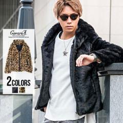 ファージャケット メンズ パーカー ブルゾン CavariA キャバリア フェイクファ ーパイピング ジップフード ジャケット 全2色 即日発送