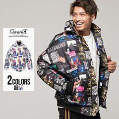 中綿 ジャケット メンズ 長袖 総柄 コラージュ CavariA キャバリア スタンドカラー ブルゾン 全2色 即日発送 アウター 暖かい