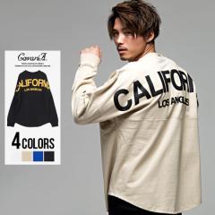 長袖Tシャツ メンズ CavariA キャバリア バックロゴ プリント ビッグシルエット クルーネック 全4色 即日発送 ロンT ブラック 黒 白 M L
