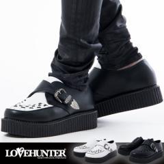 靴 シューズ メンズ LOVE HUNTER ラブハンター 厚底ラバーソールモンクストラップシューズ 即日発送 ヴィジュアル系 ビジュアル系 V系 vi
