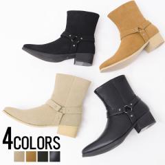 靴 ブーツ メンズ LOVE HUNTER ラブハンター サイドジップリングブーツ 即日発送 サイドジップ ブーツ ベルト ベルトヒール ストラップ