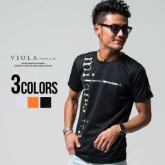 Tシャツ メンズ 半袖 VIOLA ヴィオラ プリント入りクルーネック半袖Tシャツ 即日発送 Tシャツ メンズ 半袖 クルーネック ドライ 速乾 メ